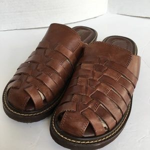 NEVADA Daisy Slide Sandals Brown Woven Leather 7M